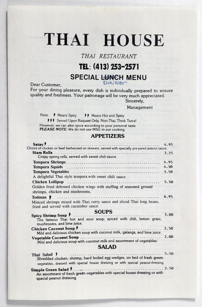 1990's Vintage Take-Out Menu THAI HOUSE Restaurant Hadley MA Thai Cuisine