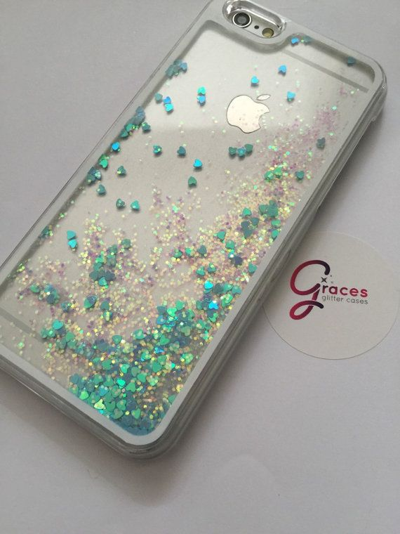 new product b0372 68631 Blue Liquid Heart moving glitter iPhone 6 6 by GracesGlitterCases ...