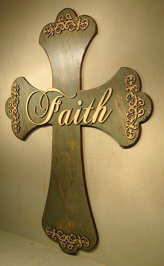Extra LARGE Rustic Wooden Cross: Faith Cross, Handmade wood cross, Large Filigree cross, Huge painted wooden cross, Cross wall