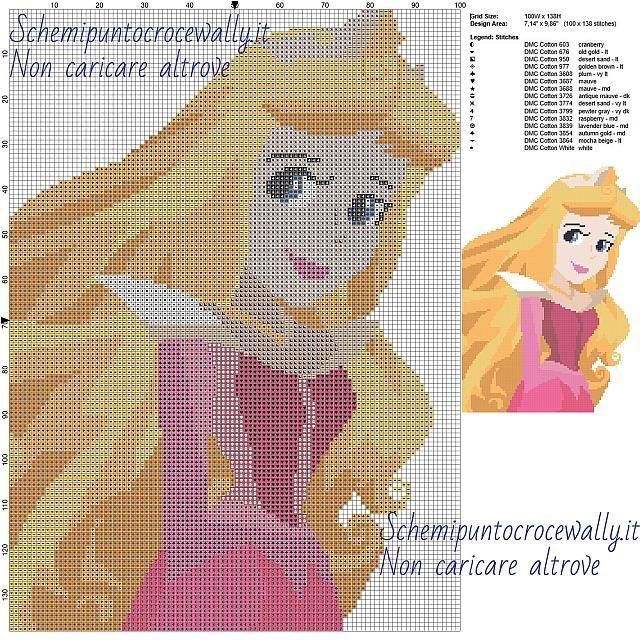 Principessa Aurora Disney schemi gratis disney a punto croce 100x138 15 colori
