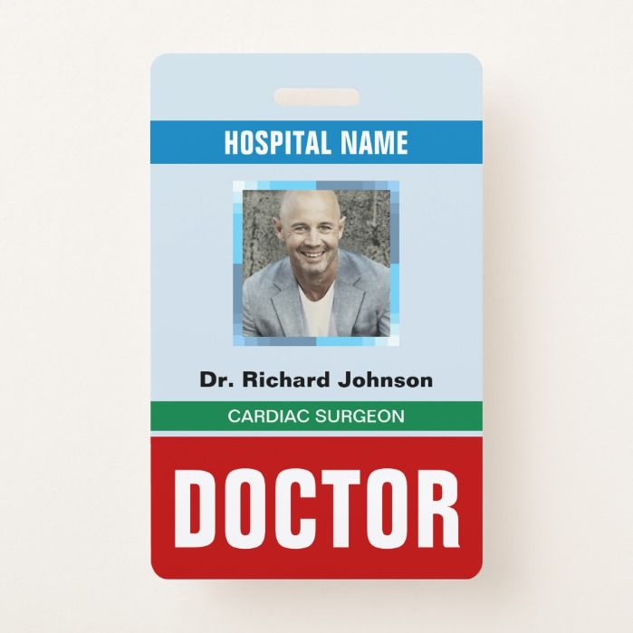Customized Name And Photo Doctor Id Card Badge Zazzle Com In 2021 Cards Doctor Video Games Birthday Party