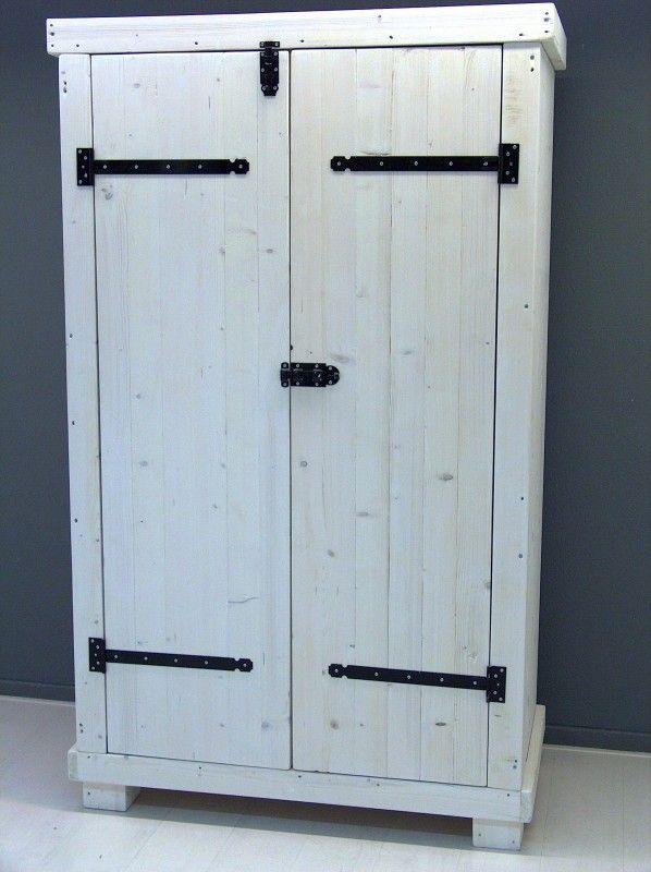 Kledingkast steigerhout met white-wash met 8 schappen en 1 hang (1260120300KZ8W)