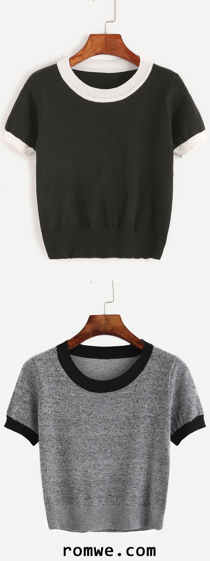 Contrast Trim Knitted T-shirt