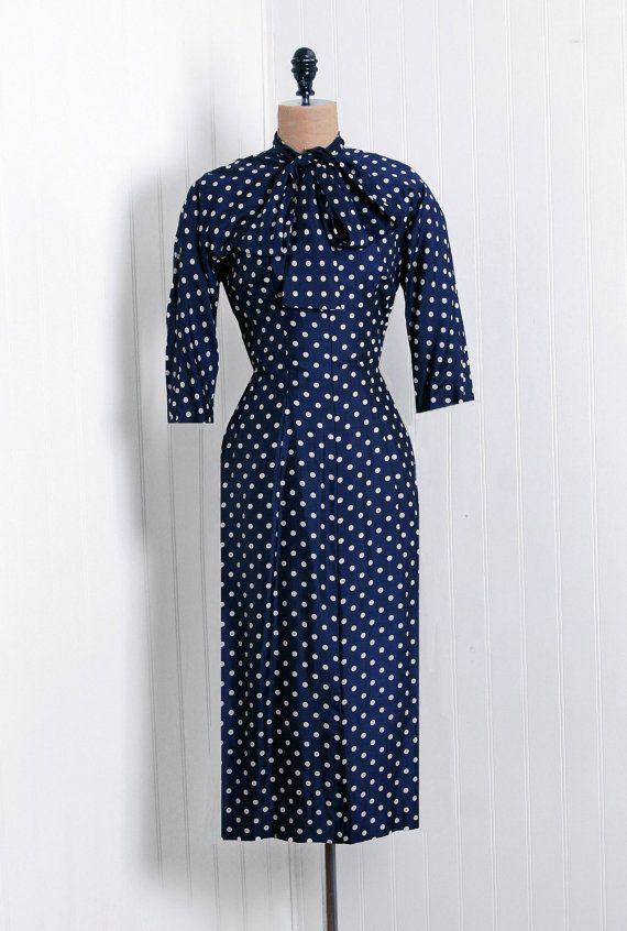 1940's Vintage polka-dot print navy-blue silk-rayon couture ascot-tie bow pencil-wiggle hourglass noir cocktail dress & cape-jacket suit set, timelessvixenvintage, etsy, $300,00=224,14€