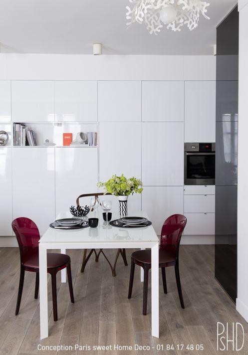 Salle à manger tout en blanc ! Conception Paris Sweet Home Deco Forence Ronsil