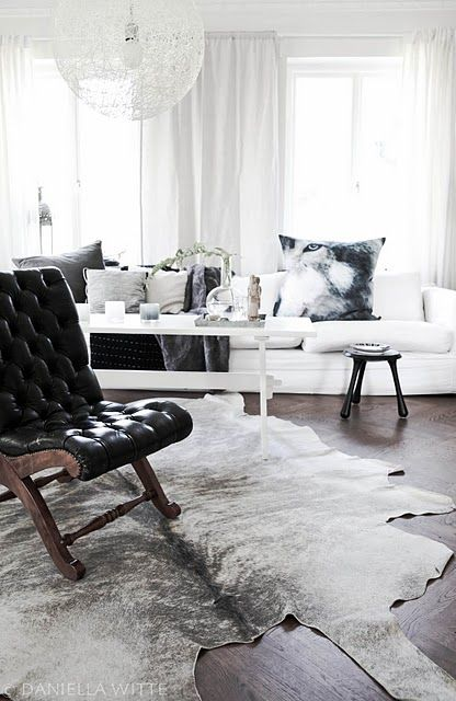 Only love the cowhide for my bedroom and then the black leather chair for library/ office.
