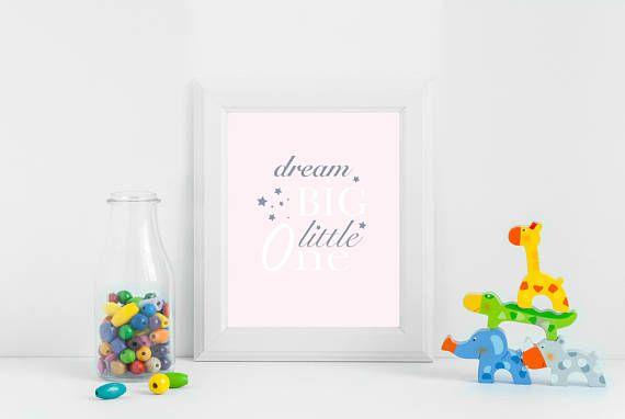 Dream Big Little One Nursery Printable Art Nursery Decor