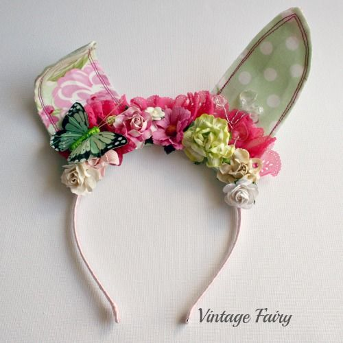 Jemima bunny ears in Green /polka  Found at www.vintagefairy.com.au  made for all ages