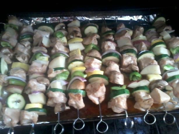 Baked teriyaki chicken kabobs. I made the loose (skewerless version) and added crushed pineapple to marinade...sooo good!