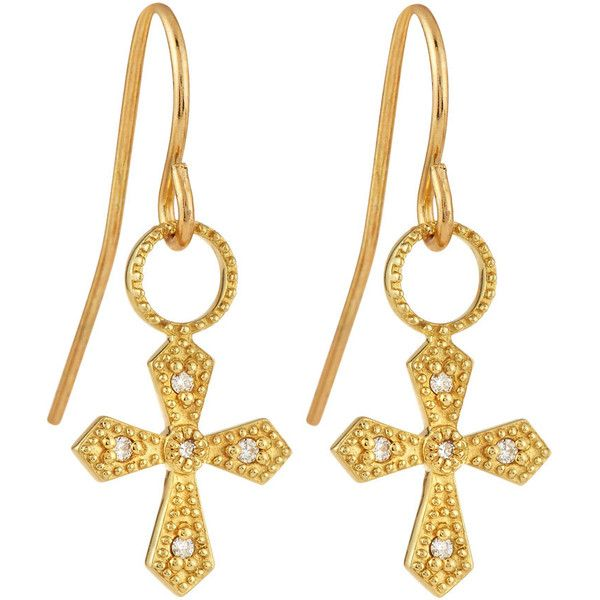 Judefrances Jewelry 18K Diamond Cross Earring Charms ($256) ❤ liked on Polyvore featuring jewelry, earrings, diamond cross charm, diamond drop earrings, dangle earrings, diamond charm and diamond cross earrings