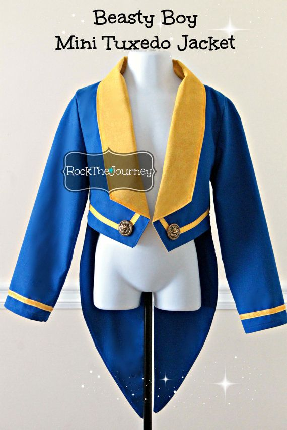Beasty Boy Beauty and The Beast Costume - Blue Tuxedo Jacket w/ Tails - Princess Belle Birthday Party - Boy Prince Adam - Halloween Tailcoat
