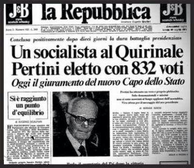 8 luglio 1978 elezione Sandro Pertini Presidente delle Repubblica