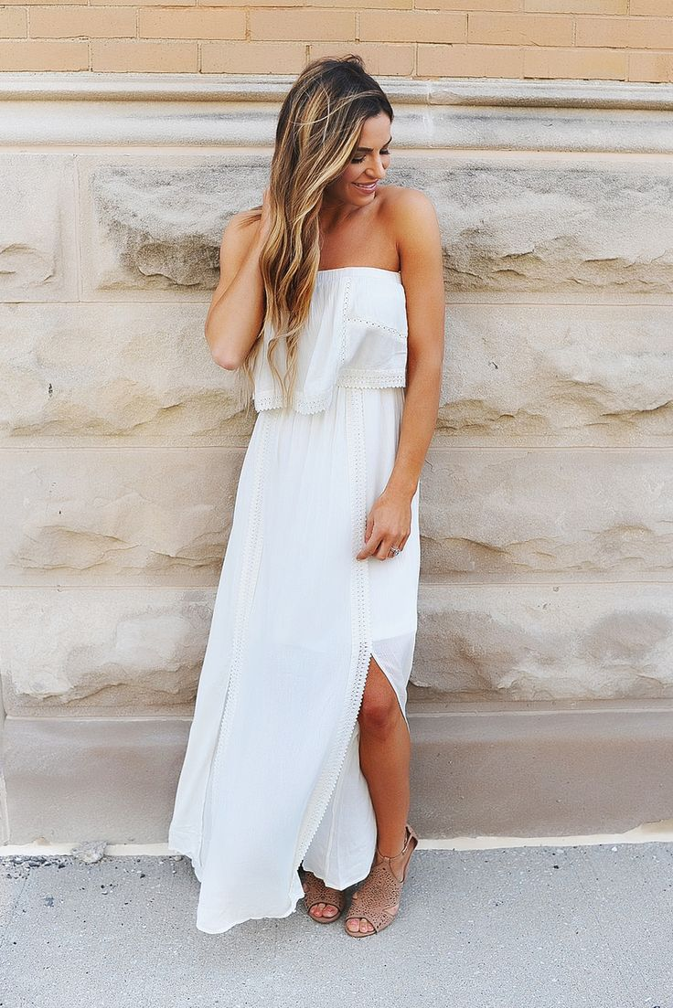 Ivory Crochet Strapless Maxi Dress