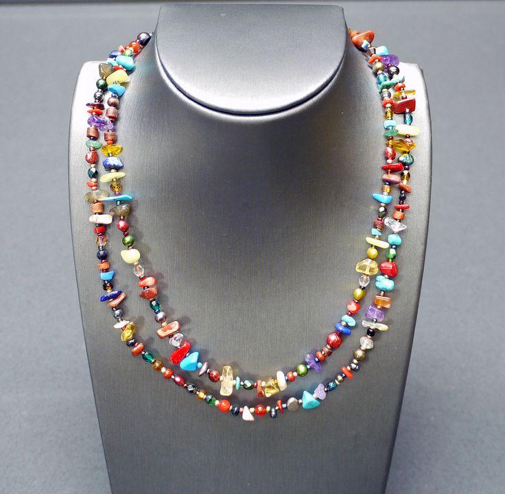 "Multi-Stone, Coral, Fresh Water Pearls, Czech Glass  Length: 16.5"" - 19"" / 42cm - 48cm Item #: nec023"