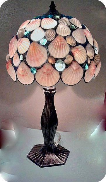 Nautical Decor Table Lamp Pink  Seashells Stained Glass Lamp -  Home Decor Beach House Lighting. $185.00, via Etsy.