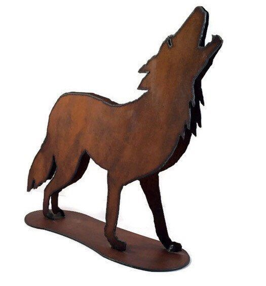 """New to VintageVybe on Etsy: Vintage Welded Metal Art Rustic Sculpture """"Howling Wolf"""" (68.00 USD)"""