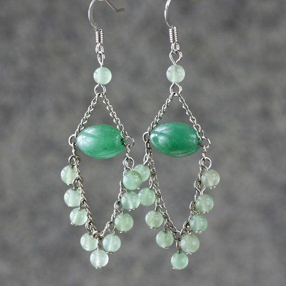 Chandelier Earrings jade green for women dangle by AniDesignsllc, $9.95