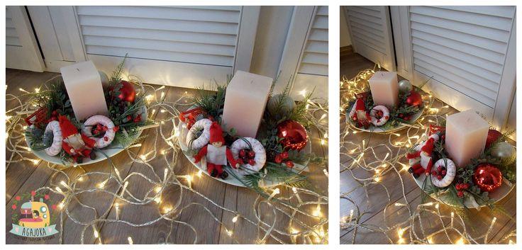 Czerwony i różowy... czemu nie :) Świąteczna kompozycja na stół ze świecą...