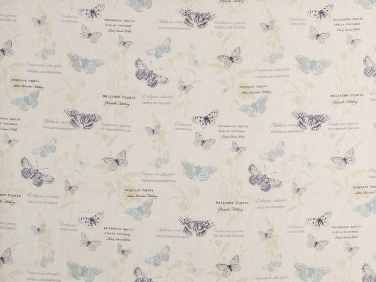 Papillon Curtain Fabric Chambray | Cheap Printed Fabric | UK Delivery