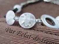 Bracelet Cristaux de roche et anneaux nacre