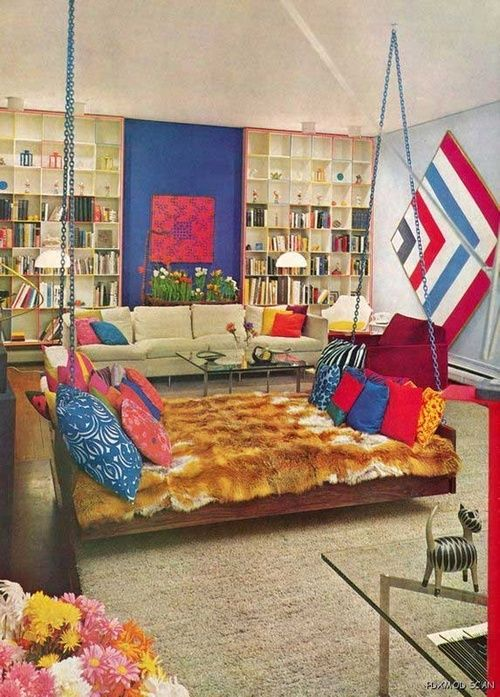 Living room design with swing day bed from the House and Garden Complete Guide to Interior Decoration, 1970s.