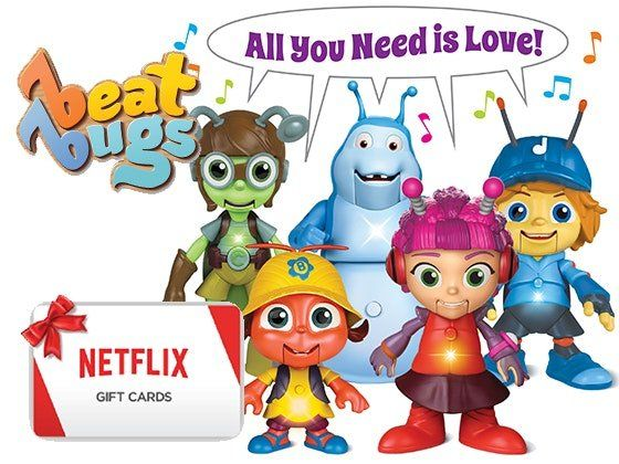 10 winners will get a $100.00 Netflix gift card and Beat Bugs toy pack including Beat Bugs Fab Figures, Beat Bugs Hijinx Alive and Beat Bugs Spin Go Round! Game. Enter now!