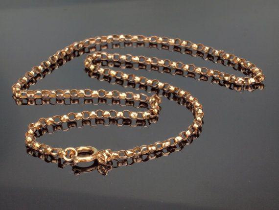 Long Gold Chain Necklace Antique Faceted 28 Belcher