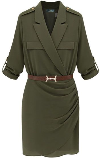ChicNova Collared Army Style Dress on shopstyle.com
