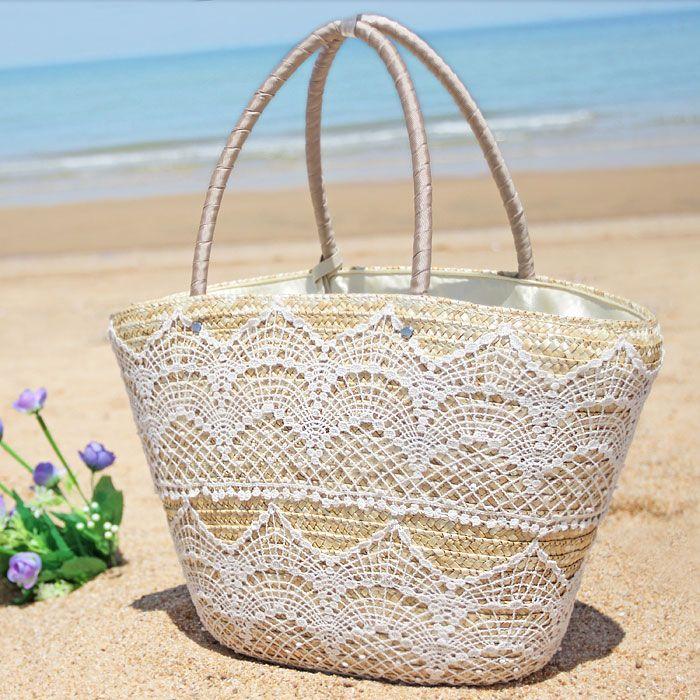 Envío gratis 2014 del bolso de la paja de la borla hecha a mano de las mujeres bolso tejido bolso de la playa grande de la capacidad de la rota portátil bolsa-inOthers de Equipaje y Bolsas en Aliexpress.com