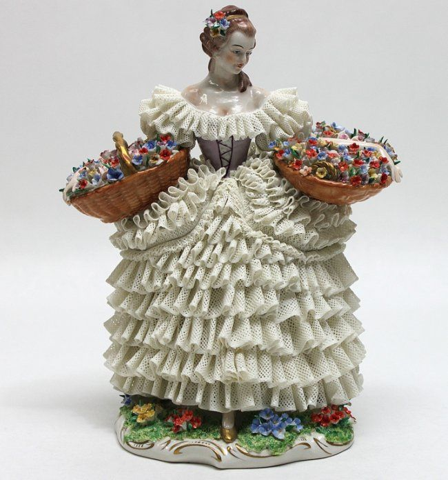 what does dresden figure | 245: Sitzendorf Dresden Porcelain Lace Figurine