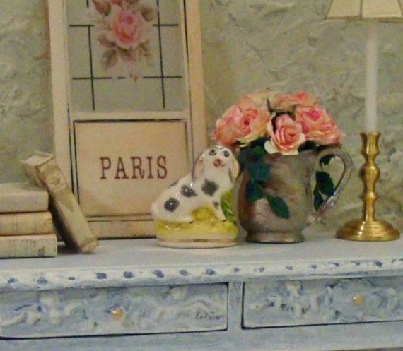 Porcelain Rabbit Figurine 1:12 Scale Miniature by WestonMiniature