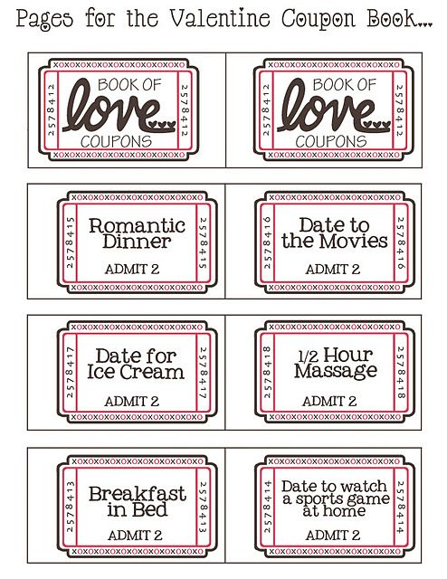 FREE download printable for a book of love tickets. Also a blank printable to make your own ticket ideas on the same page.