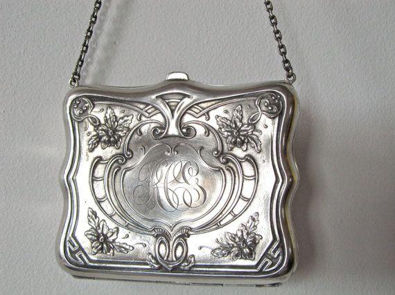 antique victorian silver purse art nouveau by GinnyandHarriot, $398.00