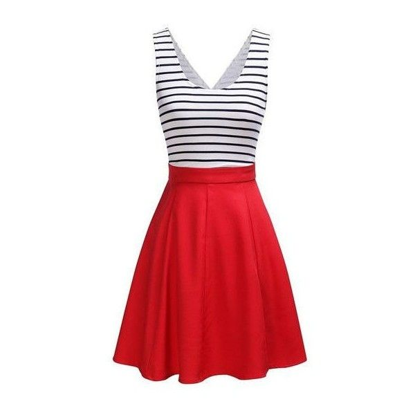 Rotita Striped Open Back Sleeveless Flared Dress (90 PLN) ❤ liked on Polyvore featuring dresses, red, red mini dress, flared dresses, long-sleeve mini dress, sleeveless dress and red flare dress
