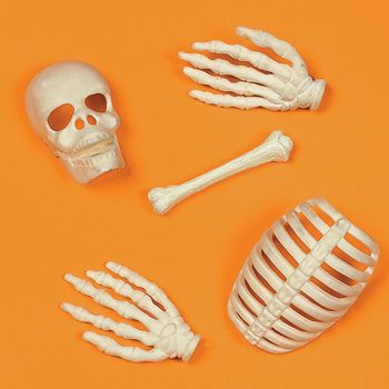 Skeleton Table Sprinkles.  Add atmosphere to your party table with these great assorted bone shapes. Depicting scary skeletal parts, these scatters are sure to be the talk of your scary party.  price i