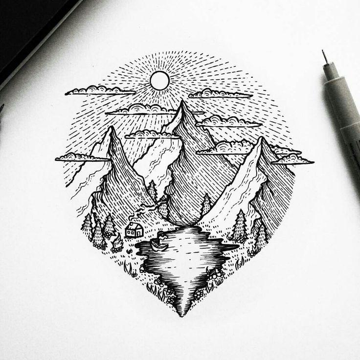 Blackwork Mountains Landscape Circle Tattoo