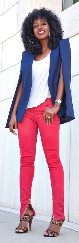 Navy Cape Blazer by Style Pantry