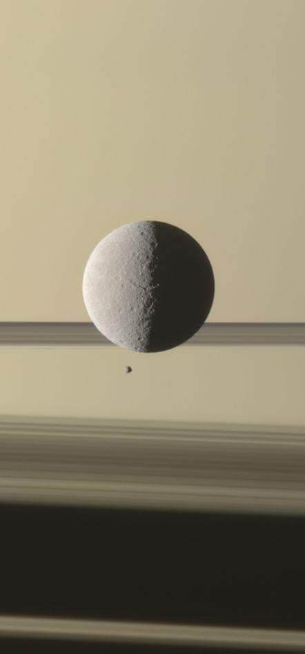 New Cassini Image: Saturn's moon Rhea with the planet's tiny moon Epimetheus Credit: NASA/JPL-Caltech/Space Science Institute; Processed image: G. Ugarković