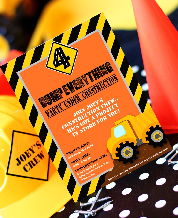 122 best images about Construction Birthday Party – Dump Truck Party Invitations