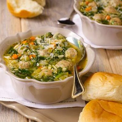 Italian Wedding Soup YOU WILL REALLY LOVE THIS DELICIOUS SOUP. IT IS FULL OF FLAVOR AND SO SCUMPTIOUS WITH WARM ROLLS AND A NICE TOSSED SALAD. YOU WILL BE GLAD TO MAKE THIS FOR YOUR FAMILY ANYTIME OF THE DAY. TRY THIS AND SEE...ENJOY