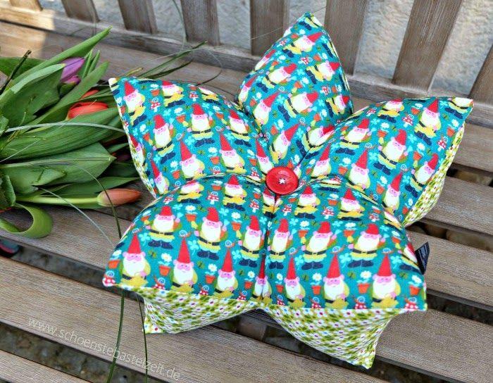 Stern oder Blüte? Frühlingskissen mit fünf Zacken - genäht von (c) www.schoenstebastelzeit.de