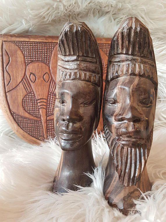 Ebony African sculptures African art set of 2 African
