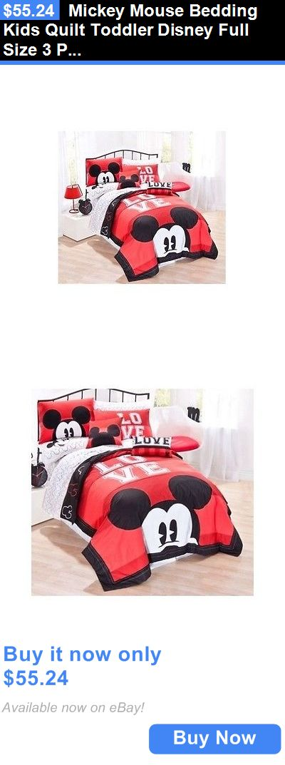Kids at Home: Mickey Mouse Bedding Kids Quilt Toddler Disney Full Size 3 Pc Comforter Sham Set BUY IT NOW ONLY: $55.24