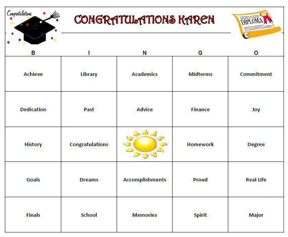 Graduation Party Bingo is a fun and personal way to celebrate your ...