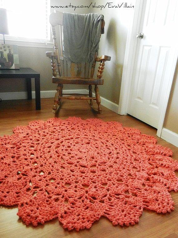 Crochet Doily Rug Floor Coral Salmon Alpaca Lace By EvaVillain, $295.00