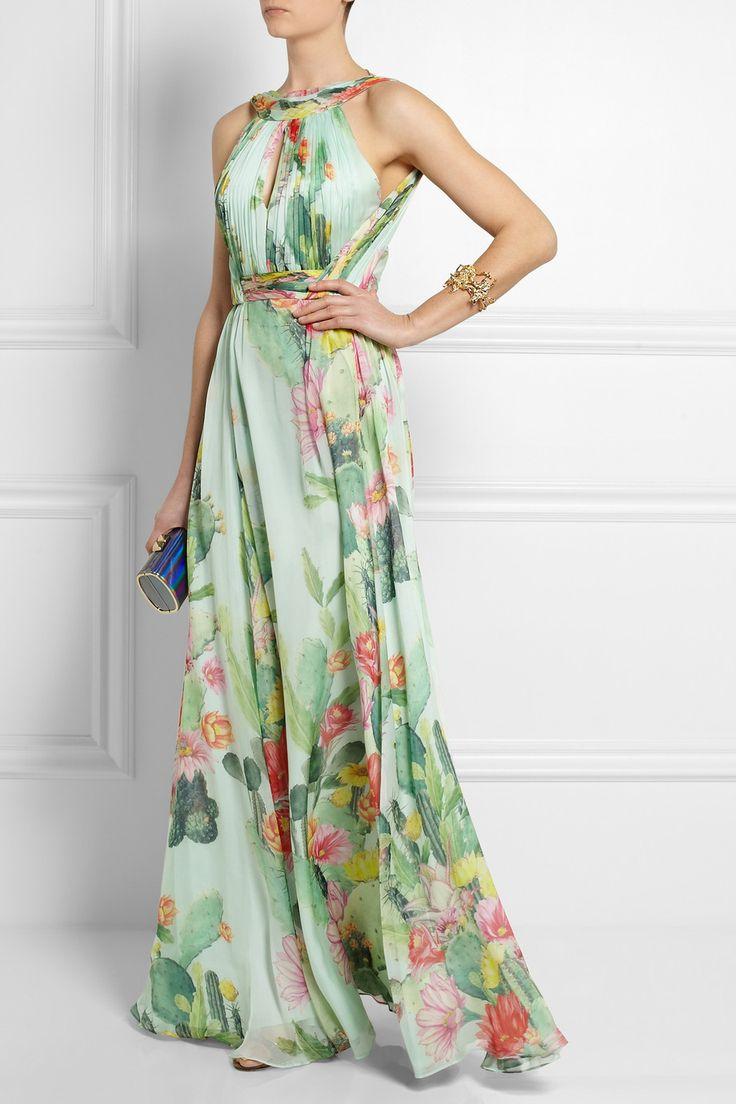Matthew Williamson|Cactus Garden printed silk-chiffon gown|NET-A-PORTER.COM