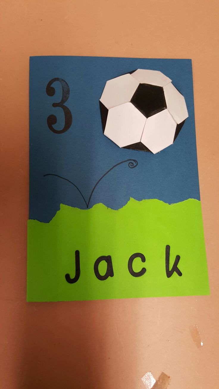 Soccer card for 3 year old.