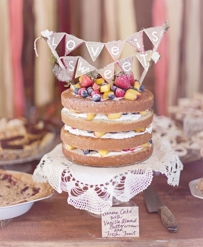 bunting topped naked cake