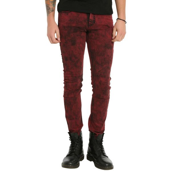 Hot Topic RUDE Red Acid Wash Skinny Jeans ($30) ❤ liked on Polyvore featuring men's fashion, men's clothing, men's jeans, pants, hot topic, jeans, men, mens button fly jeans, mens red jeans and mens super skinny jeans