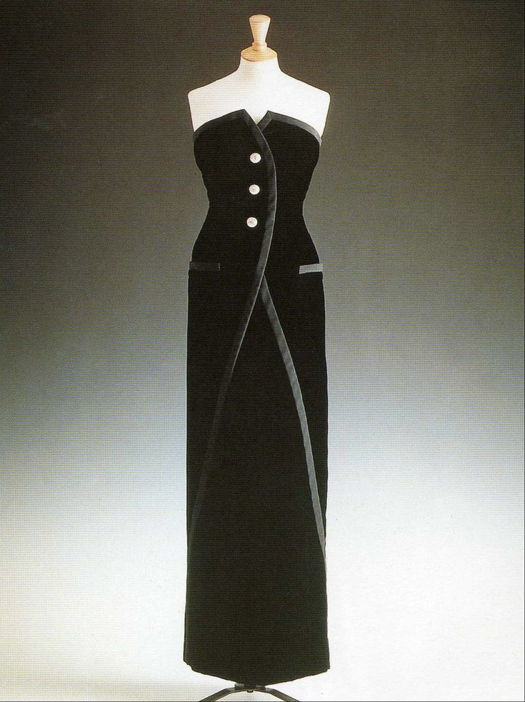 Black Velvet Victor Edelstein Gown with Ribbed Silk Braid 1989